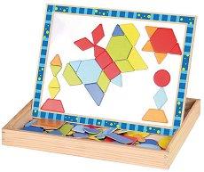 Двустранна дъска с магнитни елементи - Геометрични фигури - В комплект с тебешири и гъба - играчка