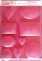 3D форма - Сърца, кръгове и правоъгълници - Размери 21 x 29.7 cm