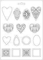 3D форма - Сърца и орнаменти - Размери 21 x 29.7 cm