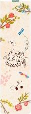 Книгоразделител с ластик - Enjoy Reading с розови цветчета -