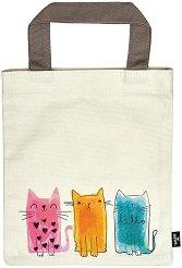 Текстилна чанта за книги - Три котки -