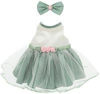 """Рокля с аксесоар - Зелено - Комплект дрехи за плюшени играчки от серията """"Lucky Doggy"""" -"""
