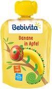 Bebivita - Забавна плодова закуска с ябълка и банан - Опаковка от 90 g за бебета над 4 месеца - продукт
