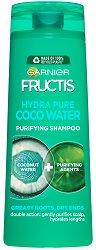 Garnier Fructis Coconut Water Shampoo - Шампоан с кокосова вода за мазни корени и сухи краища - балсам