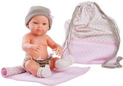 """Кукла бебе момиченце с розова постелка - От серията """"Paola Reina: Mini Pikolines"""" -"""
