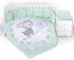 Бебешки спален комплект от 5 части с подложка за повиване - Lamb Green -