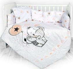 Бебешки спален комплект от 5 части - Слонче -