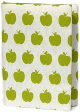 Ръчно изработена текстилна подвързия за книга - Green Apples -