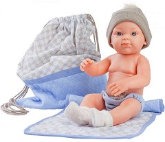 """Бебе момченце - Кукла с одеало и чанта - От серията """"Paola Reina: Mini Pikolines"""" - играчка"""
