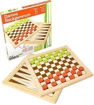 Табла и дама - Бамбукови настолни игри - играчка