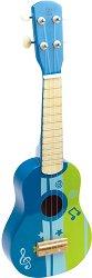 Синьо укулеле - Детски дървен музикален инструмент -