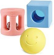 Геометрични фигурки от оризова пластмаса - Играчка с дрънкалка за бебета от 0+ месеца -