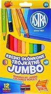 Триъгълни цветни моливи - Jumbo - Комплект от 12 цвята с острилка -