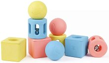 Геометрични фигурки от оризова пластмаса - Играчка с дрънкалки за бебета от 0+ месеца -