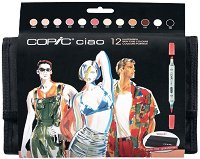 """Двувърхи маркери - Ciao Skin Tones - Комплект от 12 цвята в несесер от серията """"Ciao"""""""