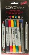 """Двувърхи маркери - Ciao Hues - Комплект от 5 цвята и тънкописец от серията """"Ciao"""""""