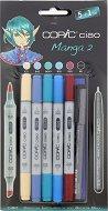 """Двувърхи маркери - Ciao Manga Set 2 - Комплект от 5 цвята и тънкописец от серията """"Ciao"""""""