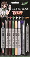"""Двувърхи маркери - Vampire Knight - Комплект от 5 цвята и тънкописец от серията """"Ciao"""""""