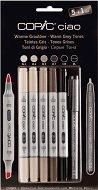 """Двувърхи маркери - Warm Grey - Комплект от 5 цвята и тънкописец от серията """"Ciao"""""""