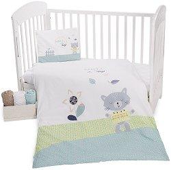 Спален комплект за бебешко креватче - Cat Lovely Day - 3 части -