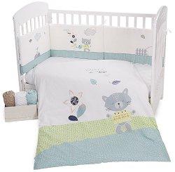 Бебешки спален комплект от 6 части - Cat Lovely Day - 100% ранфорс за матрак с размери 60 x 120 cm или 70 x 140 cm - продукт
