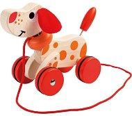 Кученце - Детска дървена играчка за дърпане -