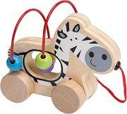 Зебра с лабиринт - Детска дървена играчка за дърпане -