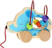 Слонче с лабиринт - Детска дървена играчка за дърпане -