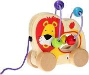 Лъвче с лабиринт - Детска дървена играчка за дърпане -