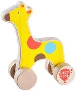 Жираф - Дървена играчка за бутане - играчка