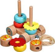 Активно влакче - Дървена играчка за нанизване, дърпане и бутане - играчка