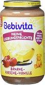 Bebivita - Пюре от банан, вишна и ванилия - Бурканче от 250 g за бебета над 6 месеца - пюре