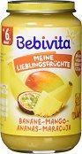 Bebivita - Пюре от банан, ананас, манго и маракуя - Бурканче от 250 g за бебета над 6 месеца - пюре