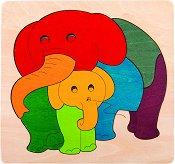 Слончета - Детски дървен пъзел - пъзел