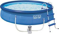 Надуваем басейн - Easy Set - Комплект с филтърна помпа, покривало, подложка и стълба