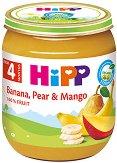 HiPP - Био пюре от банан, круша и манго - Бурканче от 125 g за бебета над 4 месеца - пюре