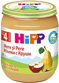 HiPP - Био пюре от ябълки с круши - Бурканче от 125 g за бебета над 4 месеца - залъгалка