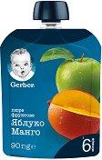 Nestle Gerber - Пауч ябълка и манго - Опаковка от 90 g за бебета над 6 месеца - пюре