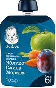 Nestle Gerber - Пауч ябълка, слива и морков - Опаковка от 90 g за бебета над 6 месеца -