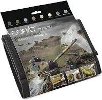 """Двувърхи маркери - Camouflage Set - Комплект от 8 цвята и блендер от серията """"Sketch"""""""