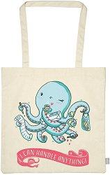 Текстилна чанта за книги - Октопод -