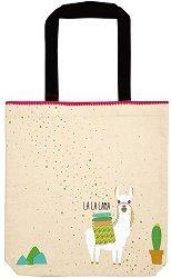 Текстилна чанта за книги - Лама -