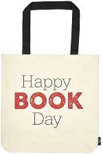 Текстилна чанта за книги - Happy Book Day -