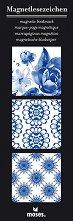 Магнитни разделители за книги - Сини мотиви - Комплект от 3 броя -