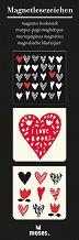 Магнитни разделители за книги - Сърца - Комплект от 3 броя -
