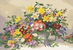 Рисуване по номера - Нежни цветя - Комплект за картина с размери 50 x 40 cm