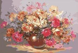 Рисуване по номера - Ваза с рози - Комплект за картина с размери 50 x 40 cm