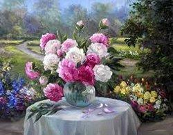 Рисуване по номера - Букет божури - Комплект за картина с размери 50 x 40 cm