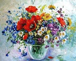 Рисуване по номера - Пролетен букет - Комплект за картина с размери 50 x 40 cm