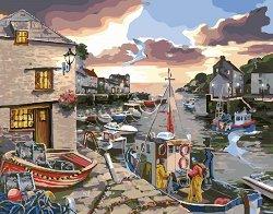 Рисуване по номера - Лодки в пристанището - Комплект за картина с размери 50 x 40 cm